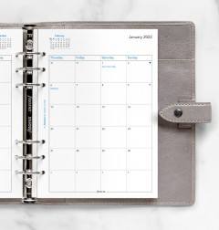 Month On Two Pages Diary A5 2022
