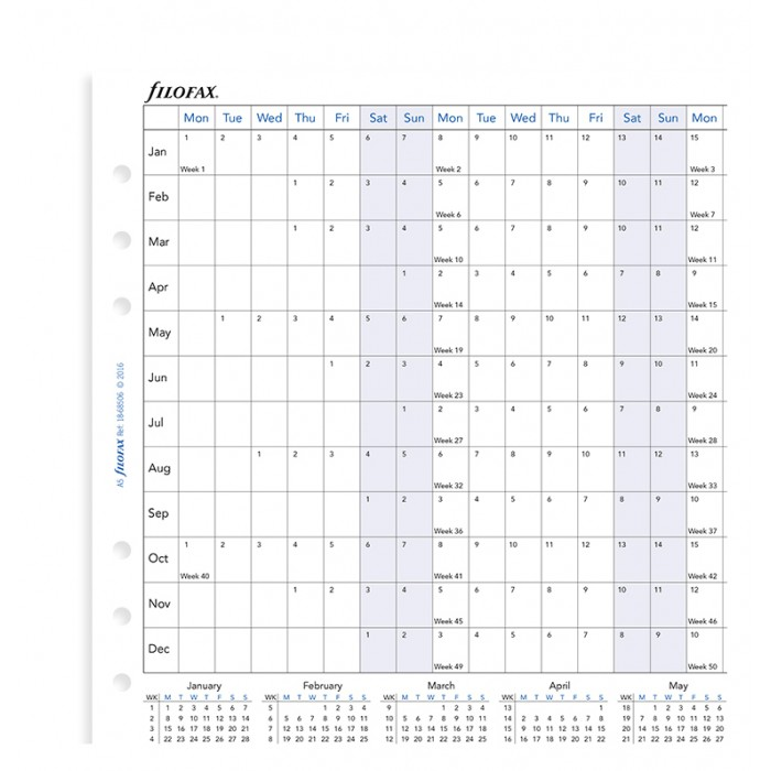 Horizontal Year Planner A5 2021