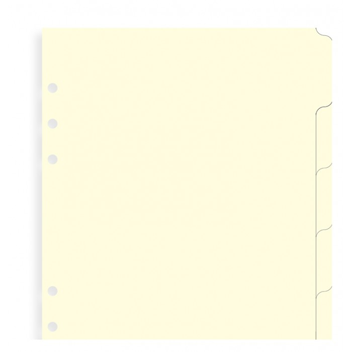 Blank Index Cream A5 - Six Tabs
